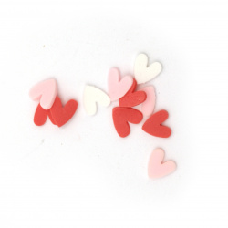 Elements for decoration fimo 5x5x1 mm heart MIX white red pink -5 grams