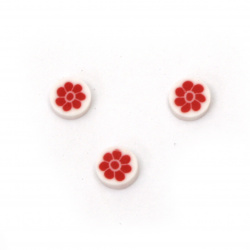 Elements for decoration fimo 5x5x1.5 mm circle white with red flower -50 pieces
