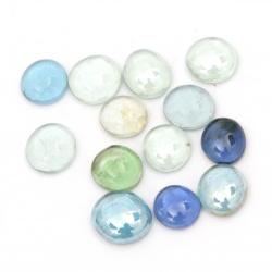 Glass hemispheres pebbles for decoration 17~23x7~10 mm blue-green range ~ 380 grams ~ 90 pieces