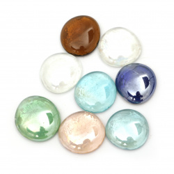 Elemente de decorare Pietre din emisferă din sticlă 27 ~ 33x9 ~ 11mm Culori asortate ~ 380g ~ 29buc