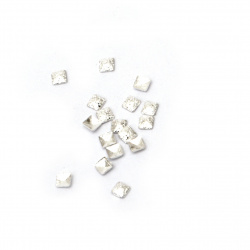 Elements for decoration cabochons brass 2x2x0.5 mm color silver ~ 200 pieces ~ 1.35 grams