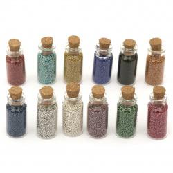 Елементи за декорация стъклени топчета в стъклено бурканче 35x15 мм МИКС