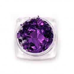 Фолио на люспи за ефект натрошено стъкло в бурканче цвят виолетов -3 мл ~1 грам
