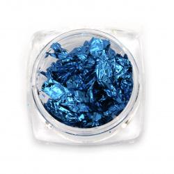 Фолио на люспи за ефект натрошено стъкло в бурканче цвят небесносин тъмен -3 мл ~1 грам