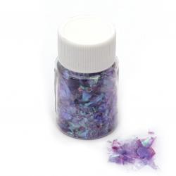 Фолио на люспи за ефект натрошено стъкло цвят лилав дъга -15 мл ~3 грама