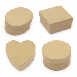 Кутия папие маше 10-12x5 см за декорация кафява асорти форми
