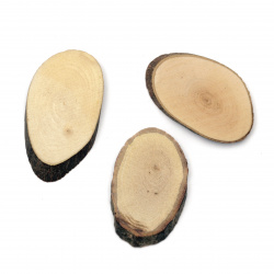 Oval Wooden Slices 30x50x5 mm - 10 pieces