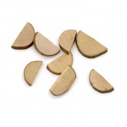 Semicircle wood slice 20 ~ 25x10 ~ 15x5 mm -20 grams