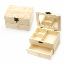 Wooden box with mirror 160x115x100 mm with three sections and a drawer