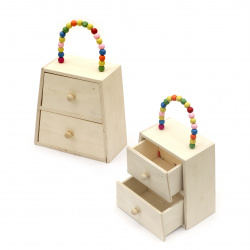 Cabinet type bag with two drawers 137x107x140x70 mm color white and a handle of colored beads