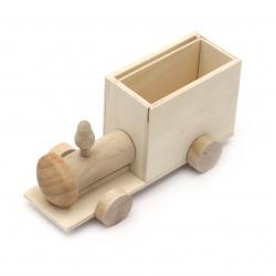 Μολυβοθήκη τρένο ξύλινη 145x70 mm λευκό
