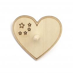 Pompal din lemn 70x3 mm alb inima