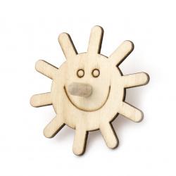 Wooden whirligig 70x3 mm sun white