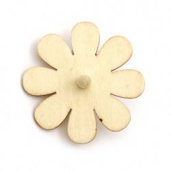 Wooden whirligig 70x3 mm white flower