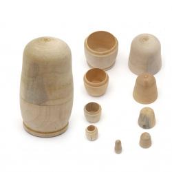 Lemn matrioșka pentru decor 115x65 mm 80x45 mm 57x30 mm 40x20 mm 25x13 mm culoare alb 5 buc