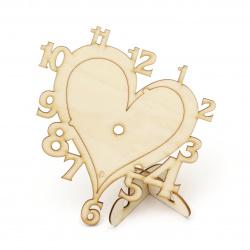 Основа дървена за часовник 150x165 мм сърце с поставка