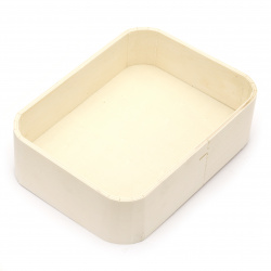 Rounded wooden basket 190x120x60 mm white color
