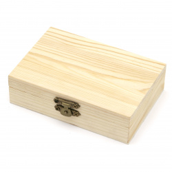 Unfinished Wooden Box with metal clasp123x85x33 mm white
