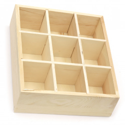 Wooden box without lid 230x190x60 mm 9 sections