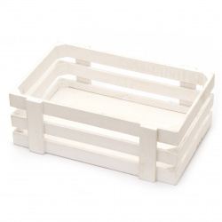 Wooden crate 260x170x90 mm white for crafty way to organaise your tools, books, albums