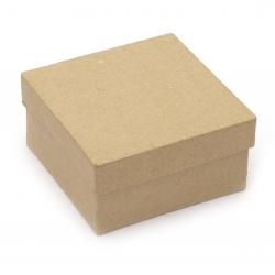 Кутия папие маше 37x37x17 см кафява -1 брой