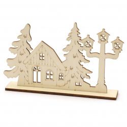 Къщичка с елхи дърво 160x100 мм с поставка