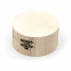 Round wooden box with metal clasp 95x50 mm