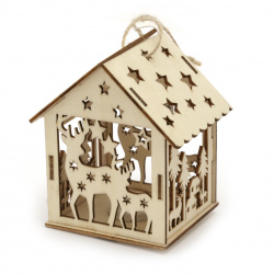 Illuminating wooden house for Decoration 93x85x65 mm Deers