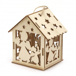 Illuminating wooden house for Decoration 93x85x65 mm  Angels