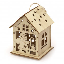 Illuminating wooden house for Decoration 90x68x69 mm Santa Claus