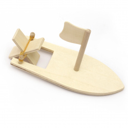 Wooden boat with fin and flag 170x77x80 mm
