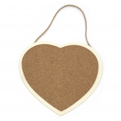 Wooden plate with cork and rope 200x200 mm heart