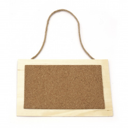 Wooden tile with cork and rope 180x130 mm rectangle