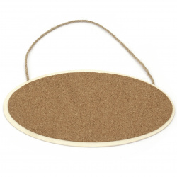 Wooden plate with cork and rope 210x125 mm oval
