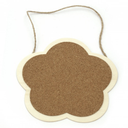 Wooden plate with cork and rope 173 mm flower