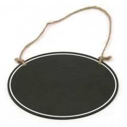 Placă din lemn elipsă 200x150x3 mm placă neagră cu frânghie