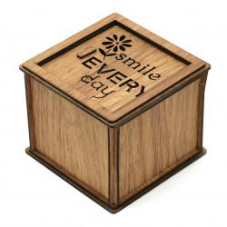 Сувенир светеща дървена кутия с роза 78x92 мм smile