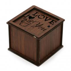 Сувенир светеща дървена кутия с роза 78x92 мм LOVE for you