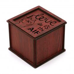 Сувенир светеща дървена кутия с роза 78x92 мм LOVE in is te AIR