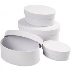 Кутия с капак папие маше овал 10x4 см paper mashe Creativ бяла -1брой