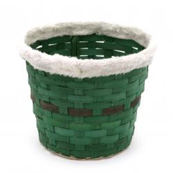 Кашпа с коланче 200x165 мм плетена цвят зелен