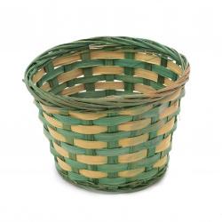 Кашпа 170x120 мм плетена цвят зелен
