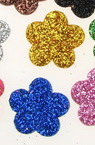 Glitter Flower Embellishment, Mixed Colors EVA Foam 19x2mm 20pcs
