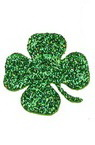 Brocade Clover with  handle for Embellishment, /EVA foam material/, green 26x2mm - 15pcs.