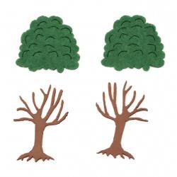 Фигурка дърво две части стъбло фоам/EVA материал/60x40 мм и корона филц 40x45 мм -2 броя