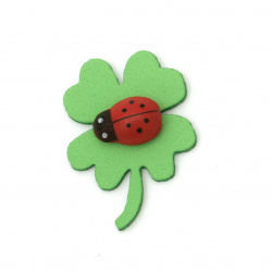 Clover with ladybug foam / EVA material / 33x2 mm green -10 pieces