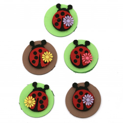 Ladybug felt 38 mm round foam / EVA material / 45 mm -5 pieces