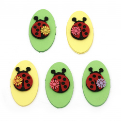 Ladybug felt 38 mm oval foam / EVA material / 70x40 mm -5 pieces