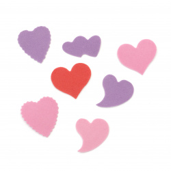 Καρδιές 10 ~ 30x20 ~ 35x1 mm αυτοκόλλητα ΜΙΞ -20 τεμάχια