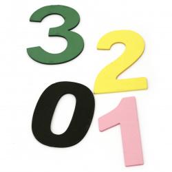Cifre spumă / material EVA / culoare 99x50 ~ 80x3 mm - de la 0 la 9